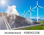 green meadow with wind turbines ... | Shutterstock . vector #458042158