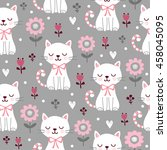 seamless pattern with cute cats.... | Shutterstock .eps vector #458045095