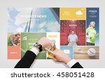 business  people  media and... | Shutterstock . vector #458051428