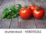 whole red tomatoes and tomatoes ... | Shutterstock . vector #458055262