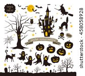 halloween icons | Shutterstock .eps vector #458058928
