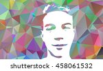 low poly graffiti stencil face. ... | Shutterstock .eps vector #458061532