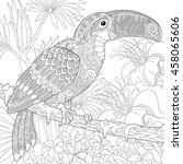 stylized toucan bird sitting on ... | Shutterstock .eps vector #458065606