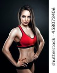 fitness female looking at camera | Shutterstock . vector #458073406