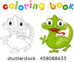 cartoon iguana coloring book... | Shutterstock .eps vector #458088655