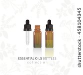 essential oil glass bottle with ... | Shutterstock .eps vector #458104345