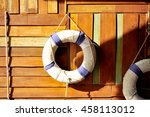 life ring on the wood wall ... | Shutterstock . vector #458113012