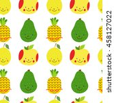 seamless pattern with fruit.... | Shutterstock .eps vector #458127022