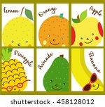 set of cute cartoon character... | Shutterstock .eps vector #458128012