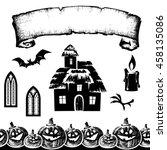halloween elements   silhouette ...   Shutterstock .eps vector #458135086