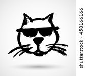 cool cat grunge vector icon | Shutterstock .eps vector #458166166