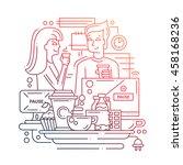 illustration of modern line... | Shutterstock . vector #458168236