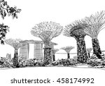 singapore. gardens by the bay.... | Shutterstock .eps vector #458174992