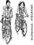 girls cyclists | Shutterstock .eps vector #458184385