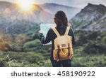 hipster young girl with... | Shutterstock . vector #458190922