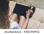 hipster texting message on... | Shutterstock . vector #458190952