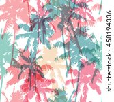 seamless pattern with palm trees | Shutterstock .eps vector #458194336