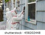 two house painters in hazmat... | Shutterstock . vector #458202448