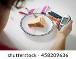 female hand holding blood sugar ... | Shutterstock . vector #458209636