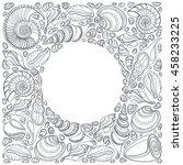 sea shell border frame with... | Shutterstock .eps vector #458233225