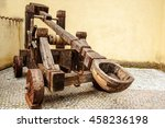 wooden medieval catapult...