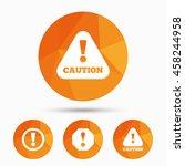 attention caution icons. hazard ...   Shutterstock .eps vector #458244958