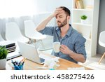 sick businessman with... | Shutterstock . vector #458275426