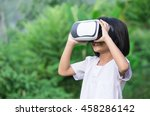 child with virtual reality...   Shutterstock . vector #458286142