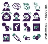 office syndrome  sick icons set | Shutterstock .eps vector #458299486