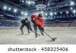 hockey match at rink  . mixed... | Shutterstock . vector #458325406