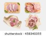 top view of mockup raw pork... | Shutterstock . vector #458340355