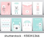 set of cute animals poster... | Shutterstock .eps vector #458341366
