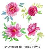 beautiful peonies. red peony... | Shutterstock . vector #458344948