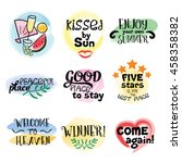 set of summer stickers. hand... | Shutterstock .eps vector #458358382