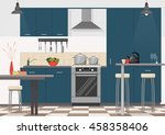 modern kitchen interior with... | Shutterstock .eps vector #458358406