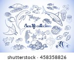 graphic sea life collection.... | Shutterstock .eps vector #458358826