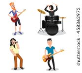 band of rock musicians  vector... | Shutterstock .eps vector #458362972