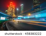 light trails at downtown... | Shutterstock . vector #458383222