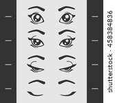 set of elements of female eye... | Shutterstock .eps vector #458384836