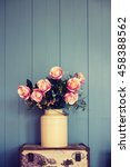 zinc rose vase. retro filter. | Shutterstock . vector #458388562