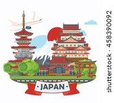 gorgeous japan travel poster  ... | Shutterstock .eps vector #458390092