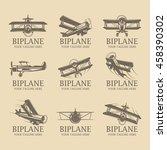 biplane logos | Shutterstock .eps vector #458390302