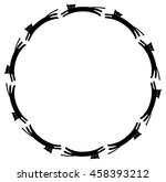 round frame with black cats... | Shutterstock .eps vector #458393212
