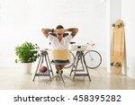 tattooed man in blank white t... | Shutterstock . vector #458395282