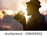 happy smiling man tasting fresh ... | Shutterstock . vector #458400502
