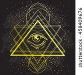 vector all seeing eye symbol on ...   Shutterstock .eps vector #458409676