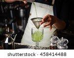 bartender pouring fresh... | Shutterstock . vector #458414488