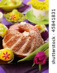 traditional ring cake with icing sugar for easter - stock photo