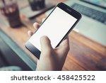 girl using smartphone in cafe.  ... | Shutterstock . vector #458425522