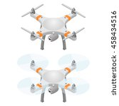 flying drone in isometric view. ... | Shutterstock .eps vector #458434516